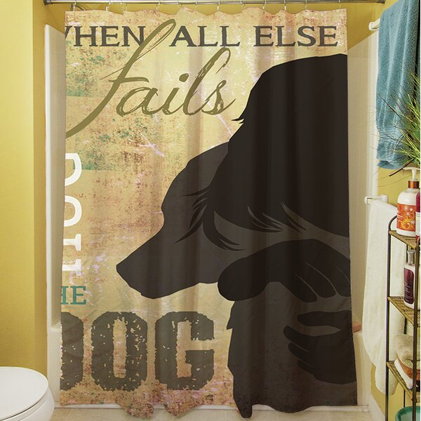 Hug the Dog Shower Curtain by Manual Woodworkers & Weavers