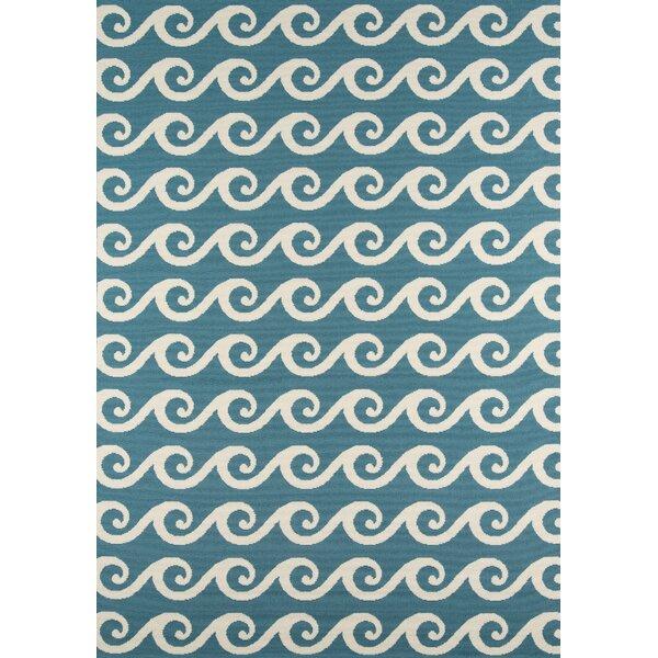 Halliday Blue Geometric Indoor/Outdoor Area Rug by Beachcrest Home
