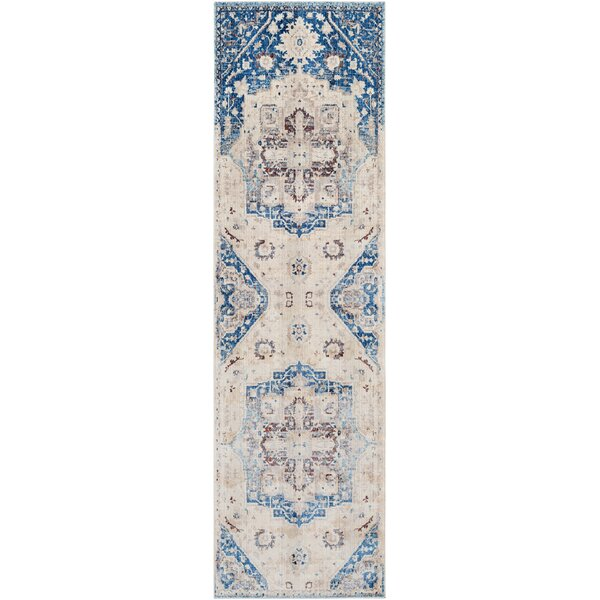 Elvis Inspired Distressed Sky Blue/Cream Area Rug by Charlton Home