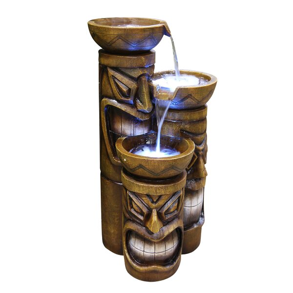 Fiberglass Tiki Tiered Pot Fountain with LED Light by Woodland Imports