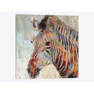 'Paint Splash Zebra' Graphic Art Print on Canvas by East Urban Home