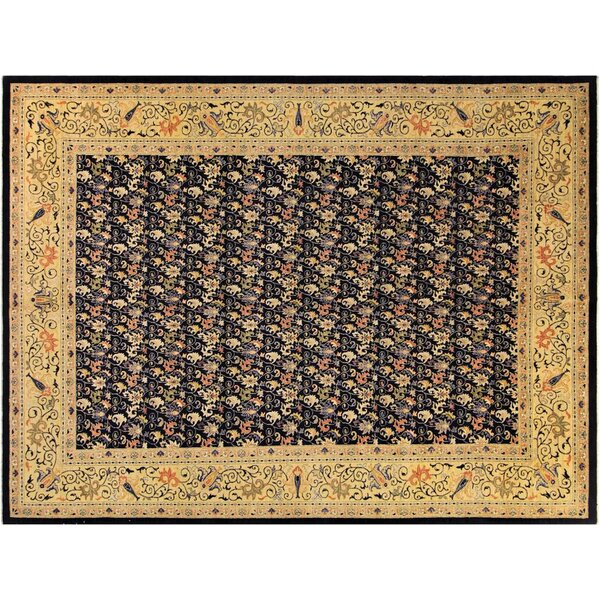 Xenos Hand-Knotted Rectangle Wool Blue/Gold Area Rug by Astoria Grand