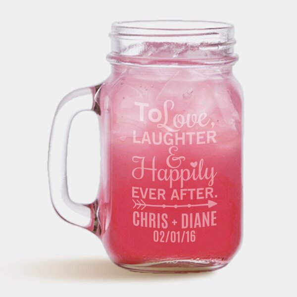 Personalized Happy Couple Glass 16 oz. Mason Jar by Monogramonline Inc.