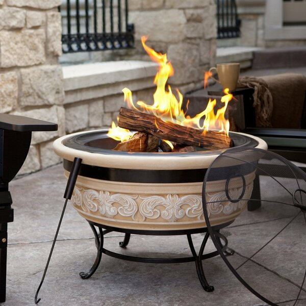 Angel Wing Stone Wood Burning Fire Pit by Imperial Home