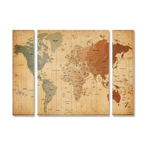 'Time Zones World Map' by Michael Tompsett 3 Piece Graphic Art on Wrapped Canvas Set by Trademark Fine Art