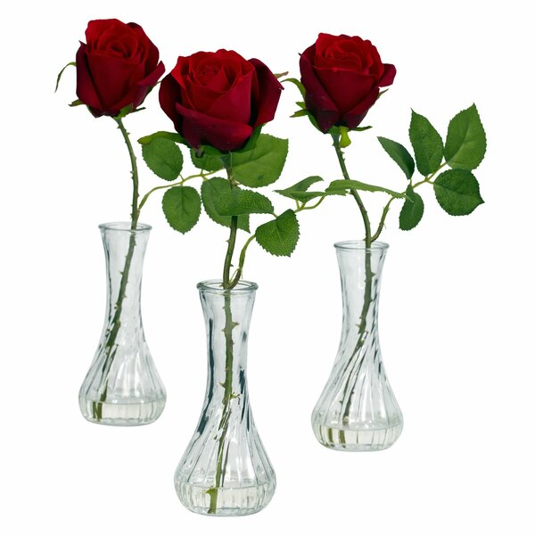Rose with Bud Vase (Set of 3) by Nearly Natural