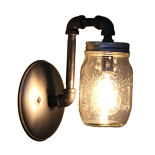 Best Price Aida Industrial Mason Jar 1-Light Armed Sconce By August Grove