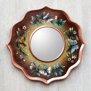 Novica Mocha Butterfly Sky Reverse Painted Glass Butterflies Wall Mirror