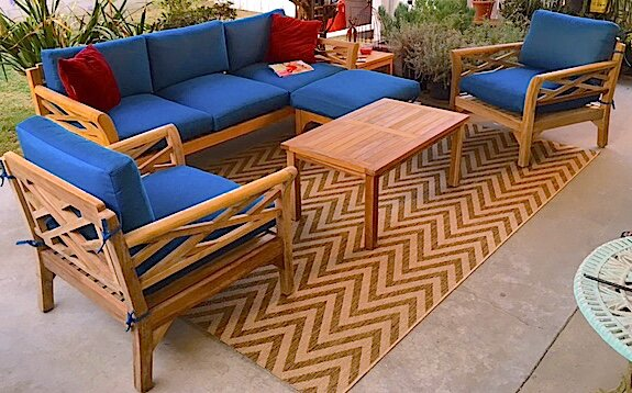 Malibu 6 Piece Teak Sunbrella Sofa Set with Cushions by Trijaya Living