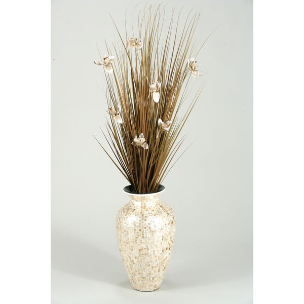 Brown Ting with Cream Blossoms in Mother of Pearl Spun Bamboo Vase by D & W Silks