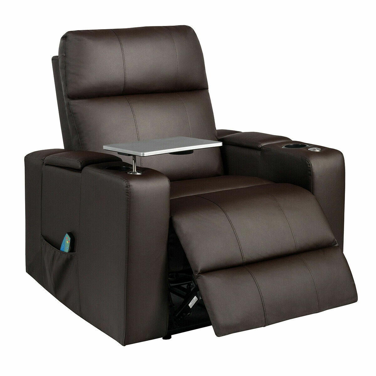 Massage Recliner Chair Home Theatre Seating Wswivel Tray&remote Control Coffee