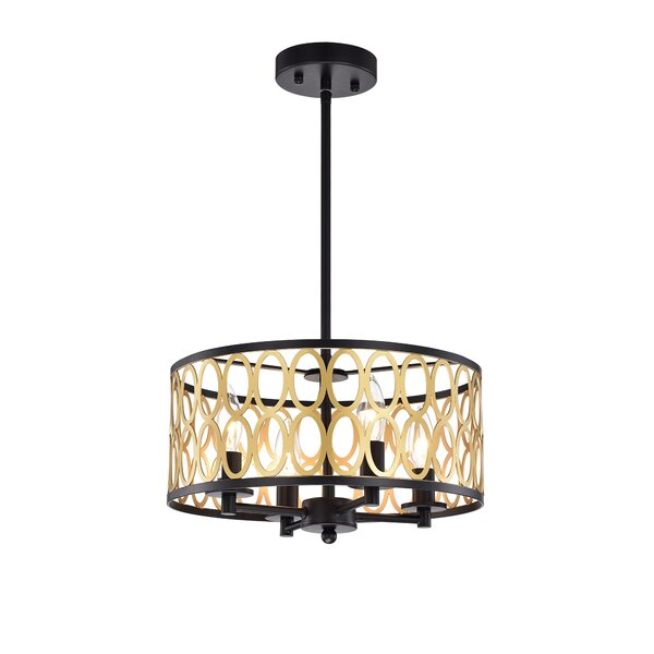 Vick 4 - Light Drum Chandelier by Everly Quinn Everly Quinn
