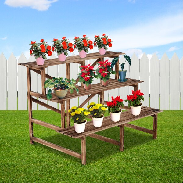 Tiberius Wooden Multi-Tiered Plant Stand by Millwood Pines