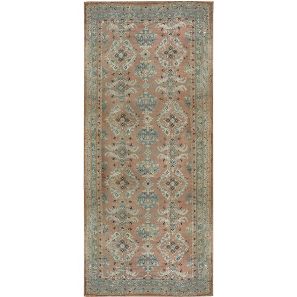 One-of-a-Kind Oushak Hand-Knotted Rose 12'6 x 27' Wool Area Rug