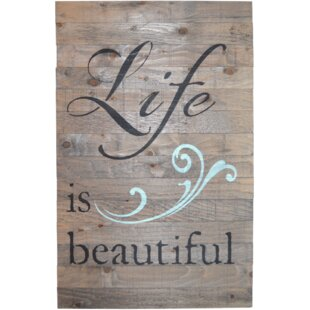 Crate Sign U0027Life Is Beautifulu0027 By Denise Walsh Textual Art On Plaque In  Barnwood