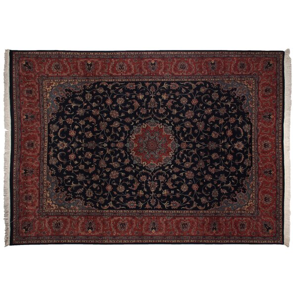 One-of-a-Kind Super Fine Hand-Woven Wool Navy/Red Area Rug by Exquisite Rugs
