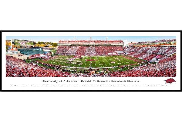 NCAA Arkansas Razorback Football Stripe Framed Photographic Print by Blakeway Worldwide Panoramas, Inc