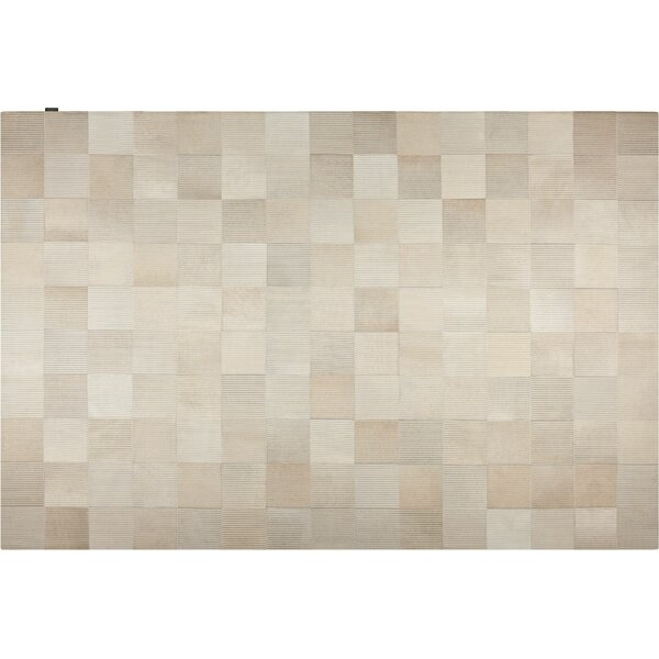 Laser Lines Cowhide Hand-Woven Off White Area Rug by Modloft