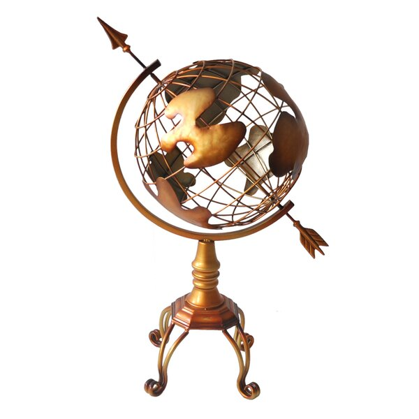 Large Metal Globe Orb on Stand by Cheungs