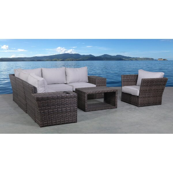 Benji 9 Piece Rattan Sectional Seating Group with Cushions by Highland Dunes Highland Dunes