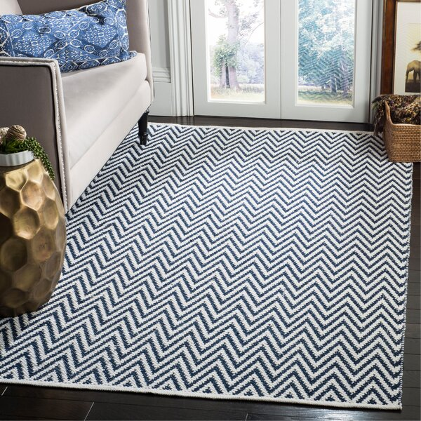 Whitton Hand-Woven Navy/Ivory Area Rug by Wrought Studio