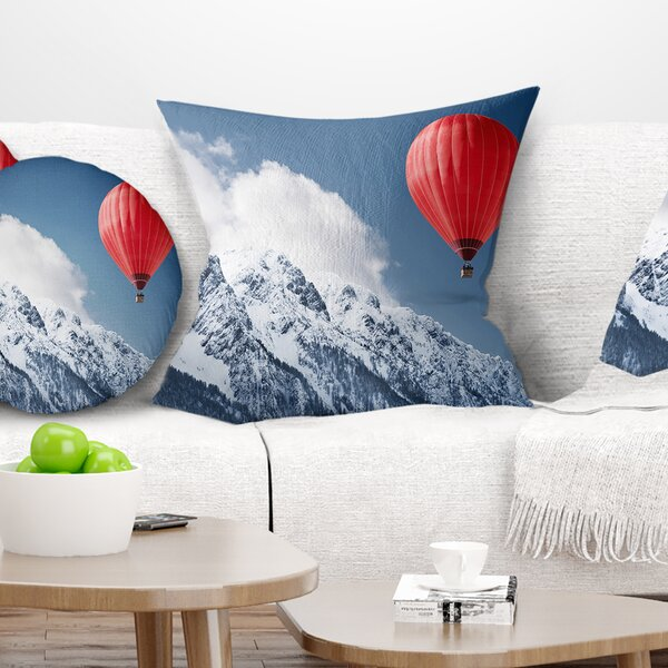 Landscape Printed Balloon over Winter Hills Pillow by East Urban Home
