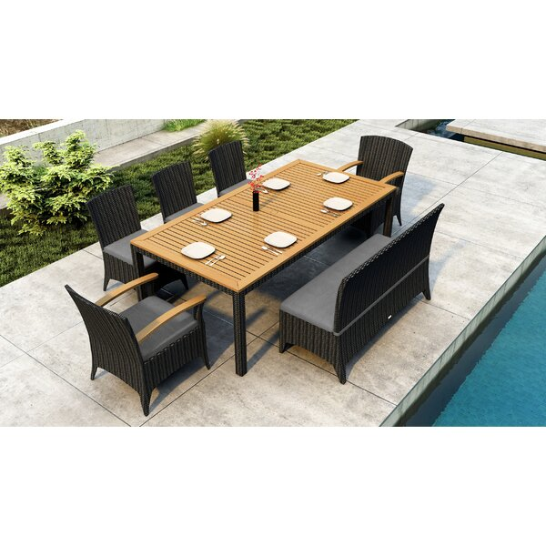 Aisha 7 Piece Teak Dining Set With Sunbrella Cushions By Brayden Studio