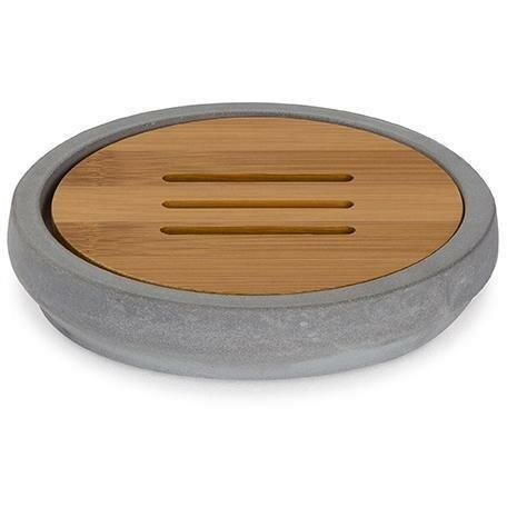 Chenelle Cement Bamboo Wood Soap Dish With Drain by Williston Forge