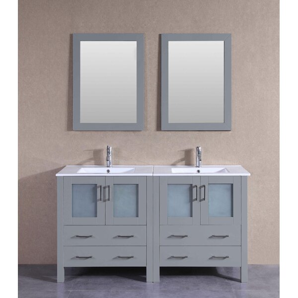 Victoria 60 Double Bathroom Vanity Set with Mirror by Bosconi
