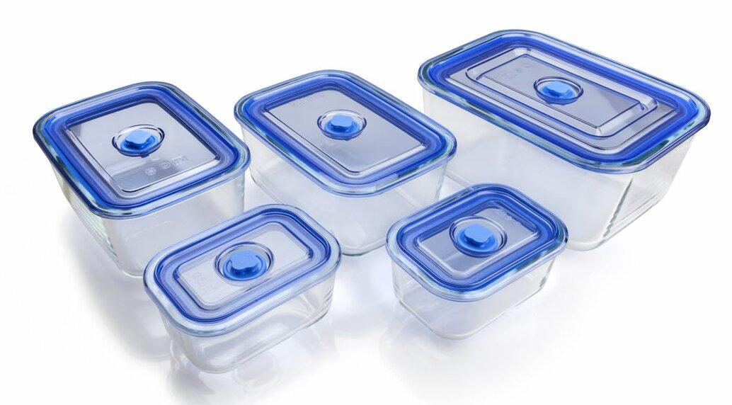 Rectangular Vacuum Borosilicate Glass 5 Container Food Storage Set