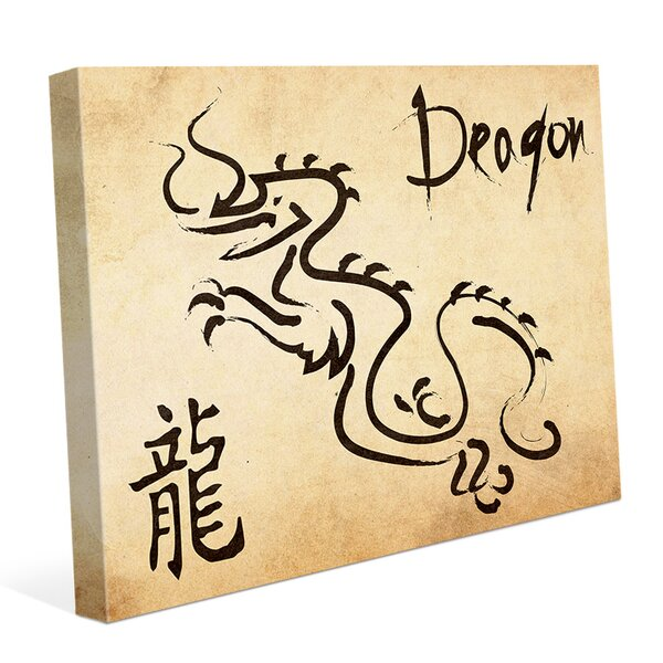 Chinese Zodiac Dragon Paper Graphic Art on Wrapped Canvas by Click Wall Art