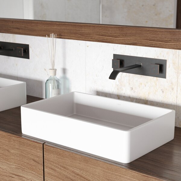 VIGO Matte Stone Rectangular Vessel Bathroom Sink