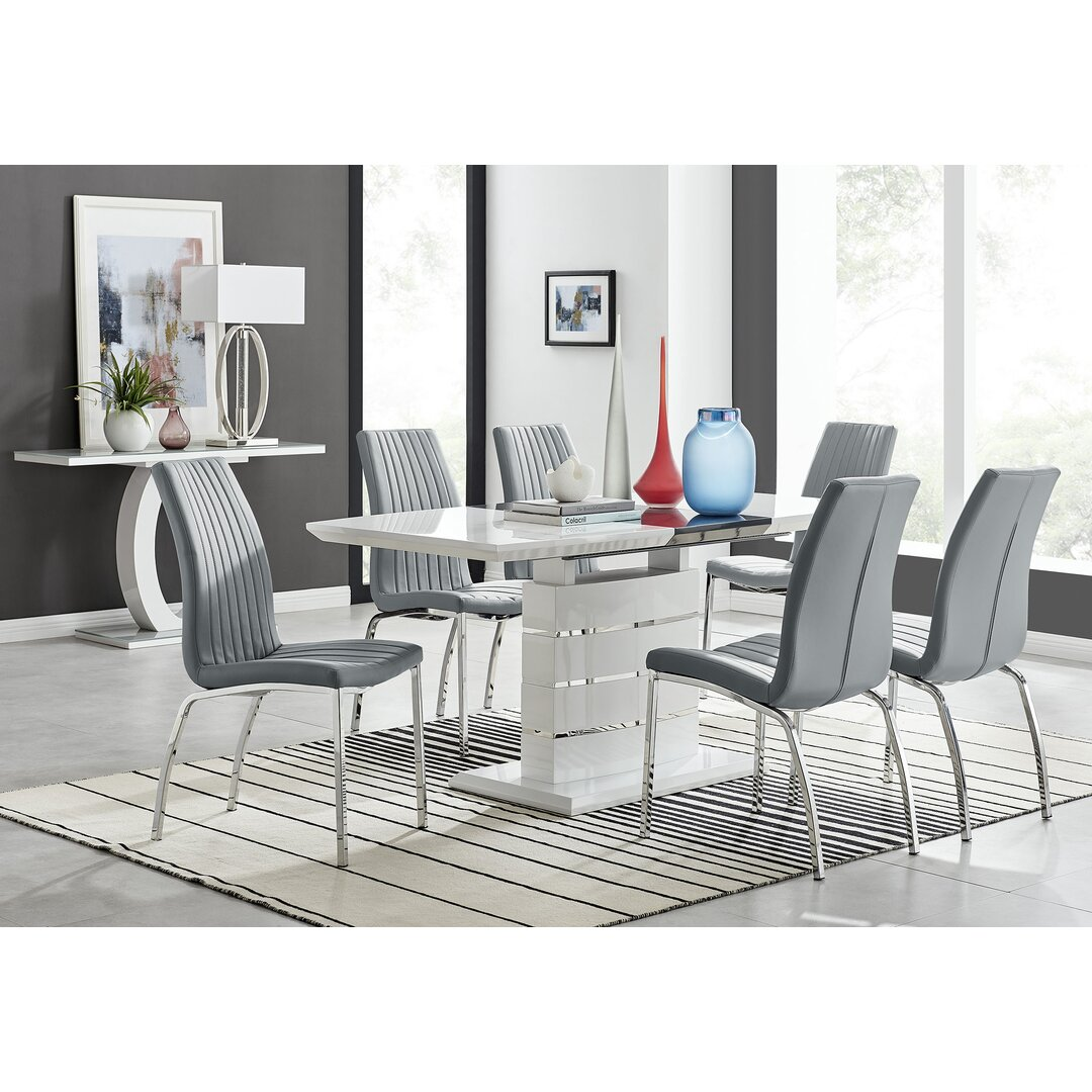 Renato 120Cm High Gloss Extending Dining Table And 6