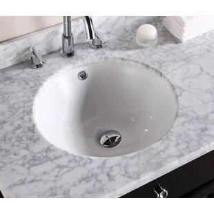 American Imaginations Ceramic Circular Undermount Bathroom Sink with Overflow ByAmerican Imaginations