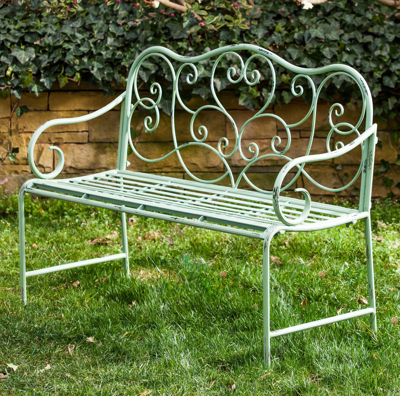 garden vonhaus grey textoline bench outdoor metal glider seater