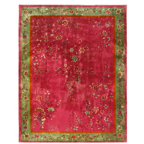 One-of-a-Kind Rosso Hand-Knotted Rose 8'7 x 11'3 Area Rug