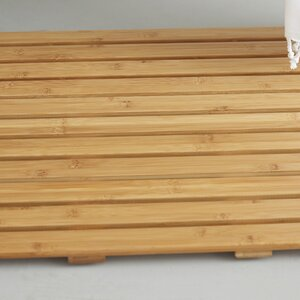 Addilyn Natural Bamboo Wood Nonskid Bath Mat