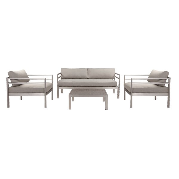 Rylen 4 Piece Sofa Seating Group with Cushions (Set of 4) by Wrought Studio