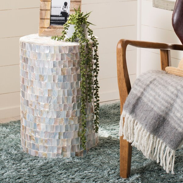 Hinnenkamp Square Mosaic Round Accent Stool by Highland Dunes
