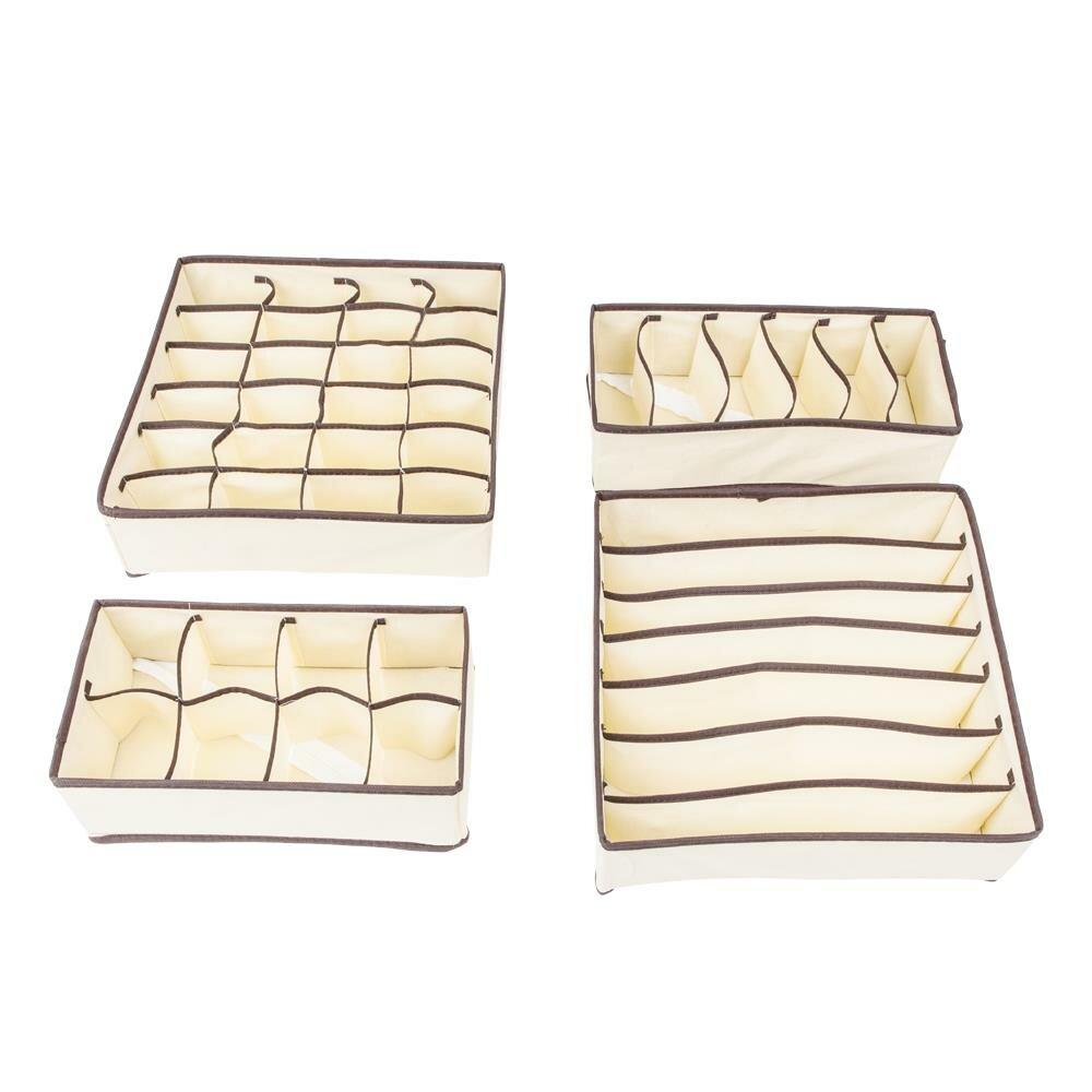 Rebrilliant Underwear Closet Storage Organizer Drawer Divider 4 Piece Fabric Box Set Reviews Wayfair