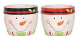 Snowman Dolomite Pot Planter Set (Set of 2) by The Holiday Aisle