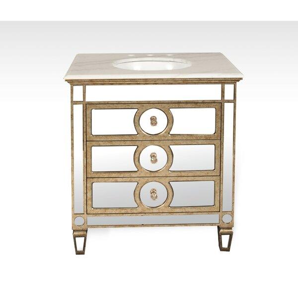 Chenai 32 Calacatta Marble  Single Bathroom Vanity Set by Everly Quinn