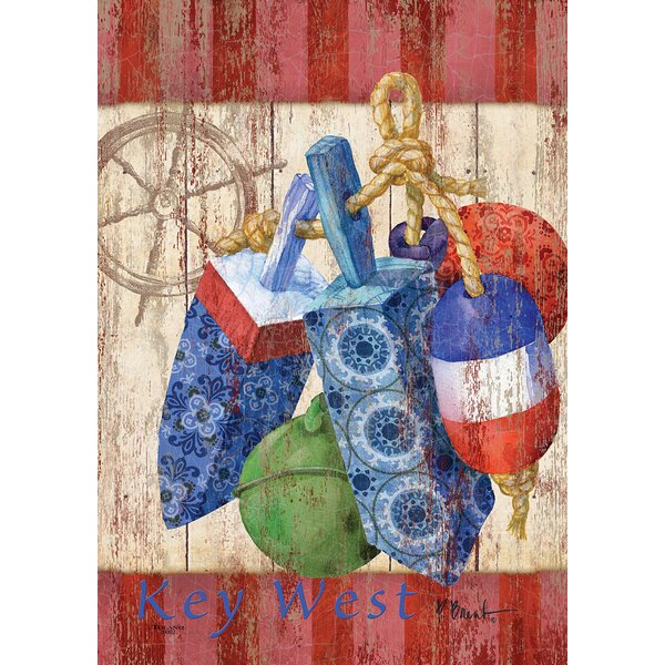 Rustic Floats and Wheel-Key West 2-Sided Garden flag by Toland Home Garden