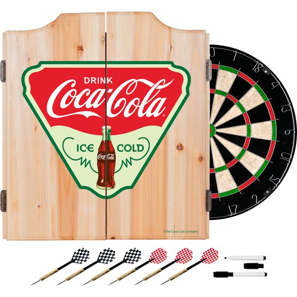 Coca Cola Ice Cold Dartboard and Cabinet Set by Trademark Global