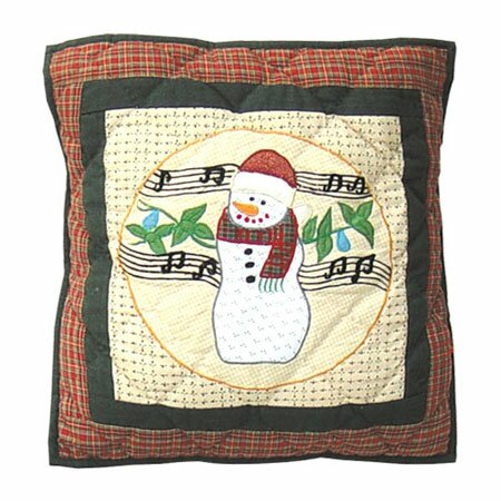 Jolly Snowmen Cotton Throw Pillow by Patch Magic