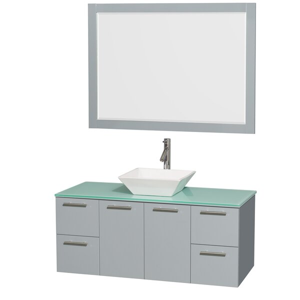 Amare 48 Single Dove Gray Bathroom Vanity Set with Mirror by Wyndham Collection