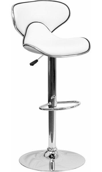 Whelan Mid Back Curved Adjustable Height Swivel Bar Stool by Orren Ellis