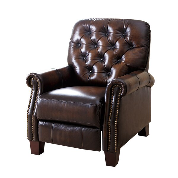 Barnesville Leather Manual Glider Recliner by Darby Home Co