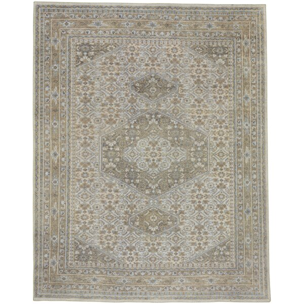 Cannae Hand-Knotted Light Tan/Pale Blue Area Rug by Capel Rugs