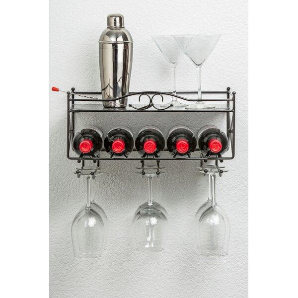 5 Bottle Wall Mounted Wine Rack by Mango Steam